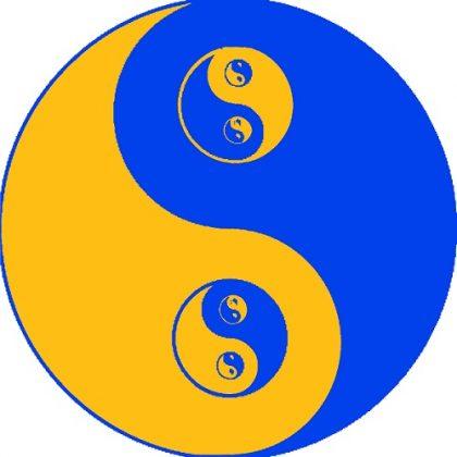 yin-yang blu-arancio