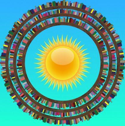 biblioteca con sole al centro