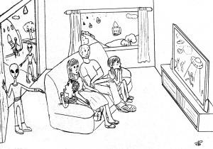 famiglia davanti alla tv